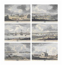 six views of the town and harbour of halifax in nova scotia]: the governor's-house and st mather's meeting house in holles street, also looking up george street, shows part of the parade and citadel-hill at halifax in nova scotia; looking down prince stree by richard short